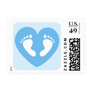 Baby feet in blue heart baby shower postage stamp