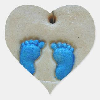 baby feet in blue heart sticker