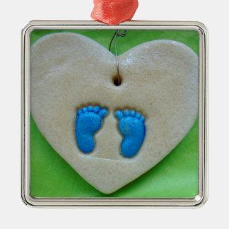baby feet in blue metal ornament