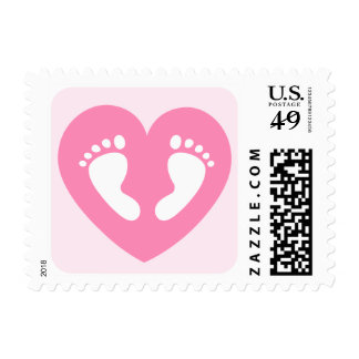 Baby feet in pink heart baby shower postage stamp