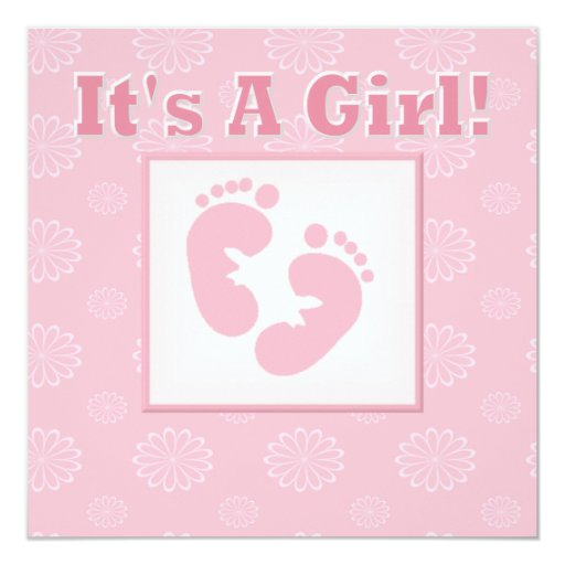 baby feet its a girl baby shower invitation