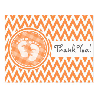 Baby Feet; Orange and White Chevron Postcard