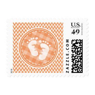 Baby Feet; Orange and White Chevron Stamp