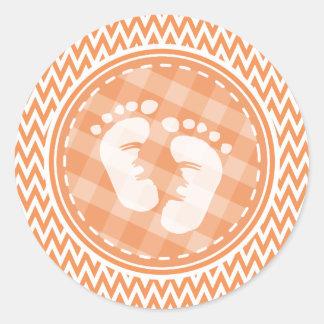 Baby Feet; Orange and White Chevron Round Sticker
