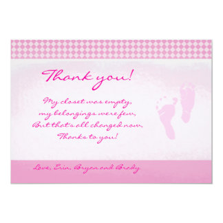 Baby Feet Pink Baby Shower Thank you Flat card