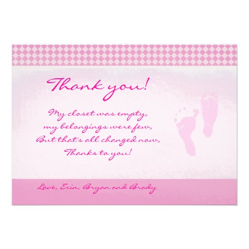 Baby Feet Pink Baby Shower Thank you Flat card Custom Announcement