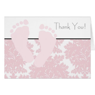 Baby Feet Pink Damask Baby Shower Thank You Cards