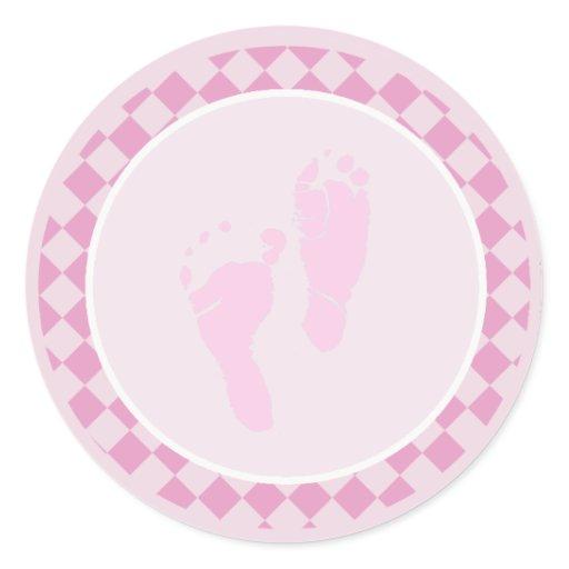 Baby Feet Pink Girl Envelope Seal Stickers