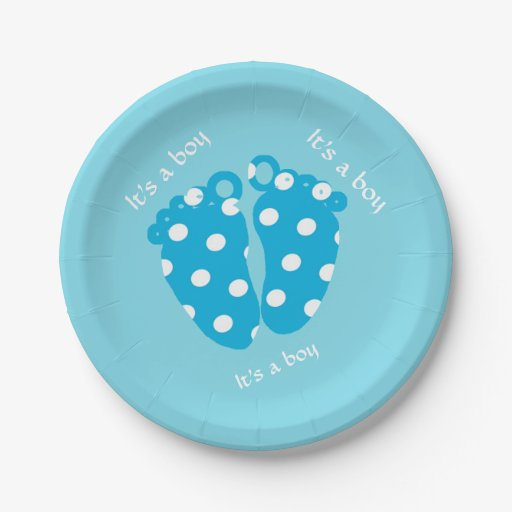 Baby feet with polka dots and it's a boy text paper plate