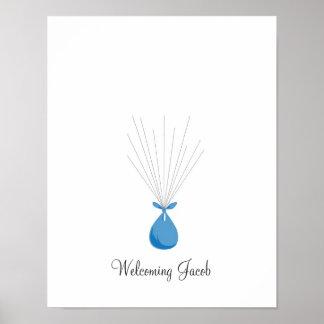 Baby Fingerprint Balloons - Blue Poster