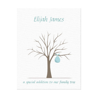 Baby Fingerprint Tree – Blue Canvas Print