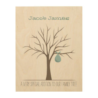 Baby Fingerprint Tree - Blue Wood Wall Art