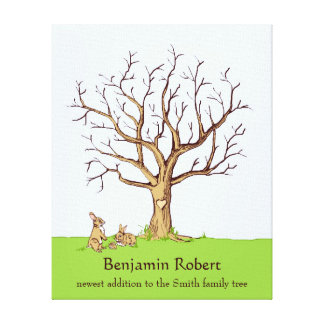 Baby Fingerprint Tree (Color Bunnies) Canvas Print