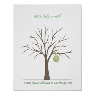 Baby Fingerprint Tree - Green Poster