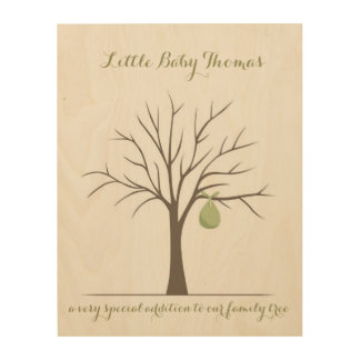 Baby Fingerprint Tree - Green Wood Wall Decor
