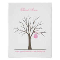 Baby Fingerprint Tree - Pink Posters
