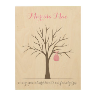 Baby Fingerprint Tree - Pink Wood Print