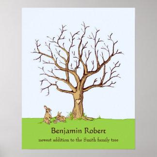 Baby Fingerprint Tree Poster (Color, Bunnies)