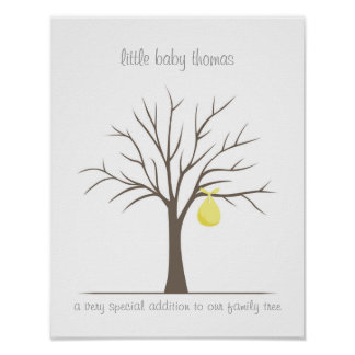 Baby Fingerprint Tree - Yellow Poster