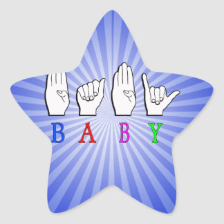 BABY FINGERSPELLED ASL NAME SIGN STAR STICKER