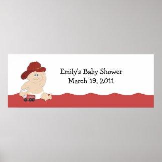 BABY FIRE FIGHTER Baby Shower / Birthday Banner Poster