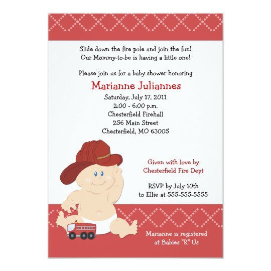 BABY FIRE FIGHTER Baby Shower Invitation 5x7