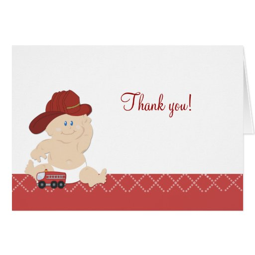 BABY FIRE FIGHTER Folded Thank you notes