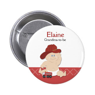 Baby Fire Fighter NAME TAG Personalized Button