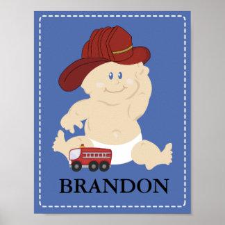 Baby FIRE FIGHTER Nursery Room Art Print Gift