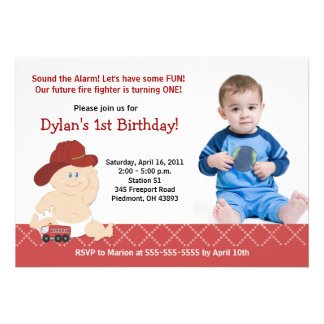 BABY FIRE FIGHTER PHOTO Birthday 5x7 Personalized Invitations