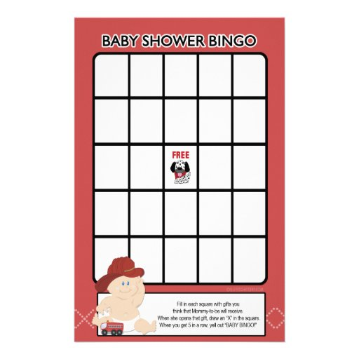 Baby Firefighter Baby Shower Bingo Game Stationery