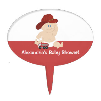 Baby Firefighter Customized Cupcake Topper