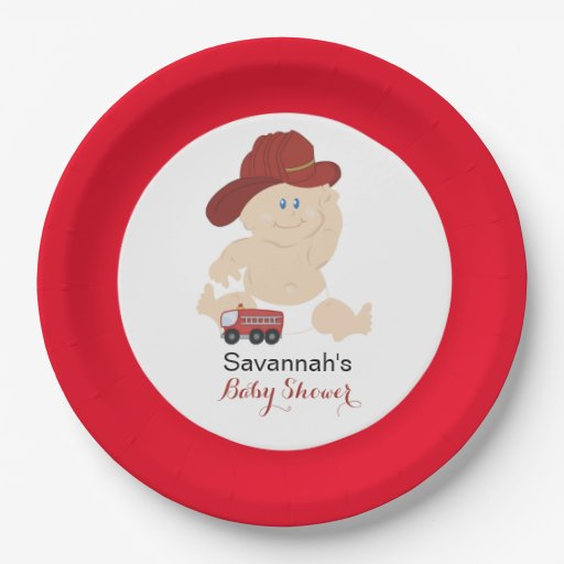 Baby Firefighter Fire Truck Custom Paper Plate