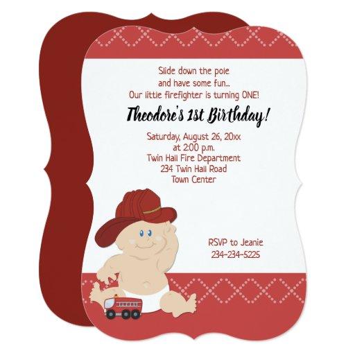 Baby Firefighter Fireman Boy Birthday Invitations