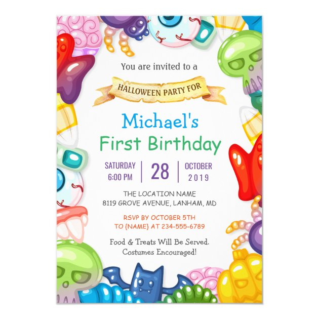 Baby First Birthday Halloween Party Monster Toys Invitation