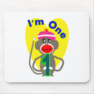 "Baby First Birthday ""I'm One"" Sock Monkey Design Mouse Pad"