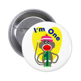 "Baby First Birthday ""I'm One"" Sock Monkey Design Pinback Button"
