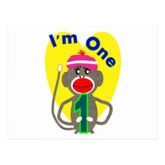 "Baby First Birthday ""I'm One"" Sock Monkey Design Postcard"