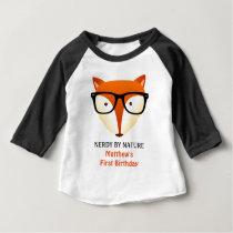 Baby First Birthday Nerd Fox Cute and Funny Baby T-Shirt
