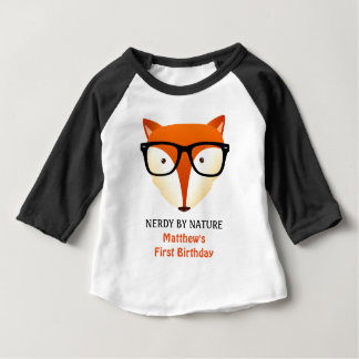 Baby First Birthday Nerd Fox Cute and Funny T-shirt
