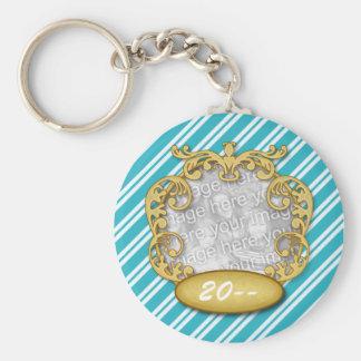 Baby First Christmas Aqua White Stripes Basic Round Button Keychain