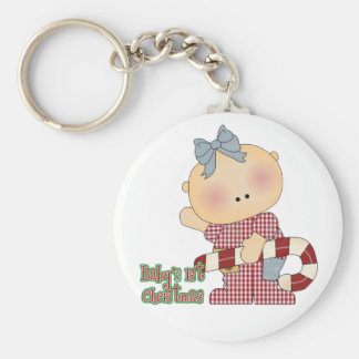 baby first christmas baby girl basic round button keychain