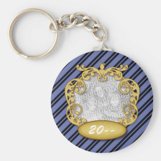 Baby First Christmas Blue Black Stripes Basic Round Button Keychain