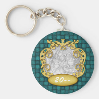 Baby First Christmas Blue Checkers Basic Round Button Keychain