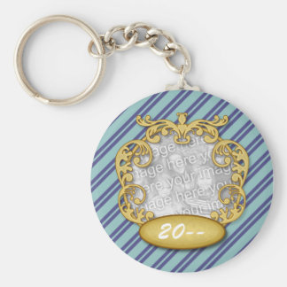 Baby First Christmas Blue Teal Stripes Basic Round Button Keychain