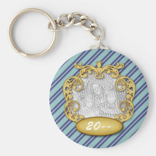 Baby First Christmas Blue Teal Stripes Key Chains