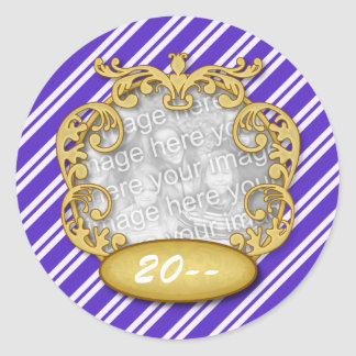 Baby First Christmas Blue White Stripes Classic Round Sticker
