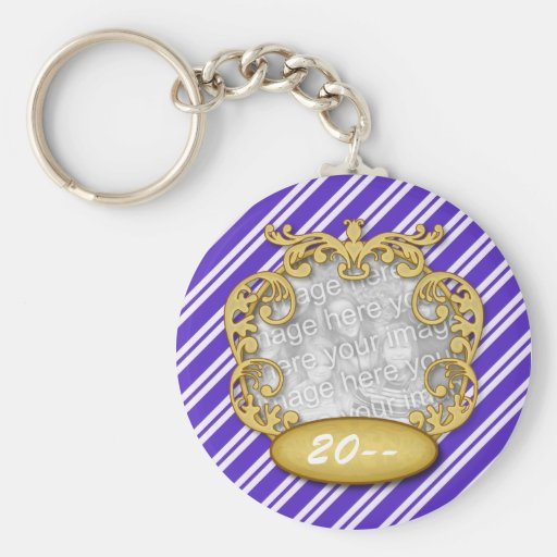 Baby First Christmas Blue White Stripes Keychain