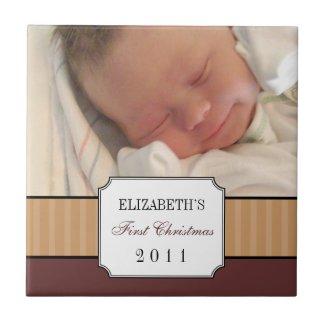 Baby first christmas brown ribbon stripe keepsake tile