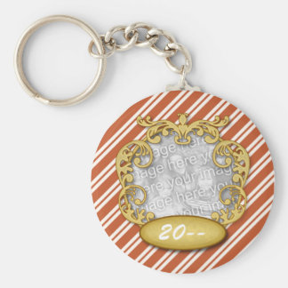 Baby First Christmas Candy Cane Stripes Basic Round Button Keychain